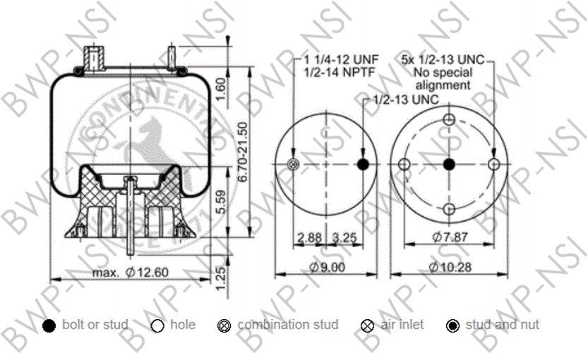 Contitech As9194 Air Spring 9 10 16 P 352