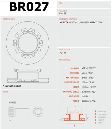BR027 - Brake Rotor, Fits Calipers